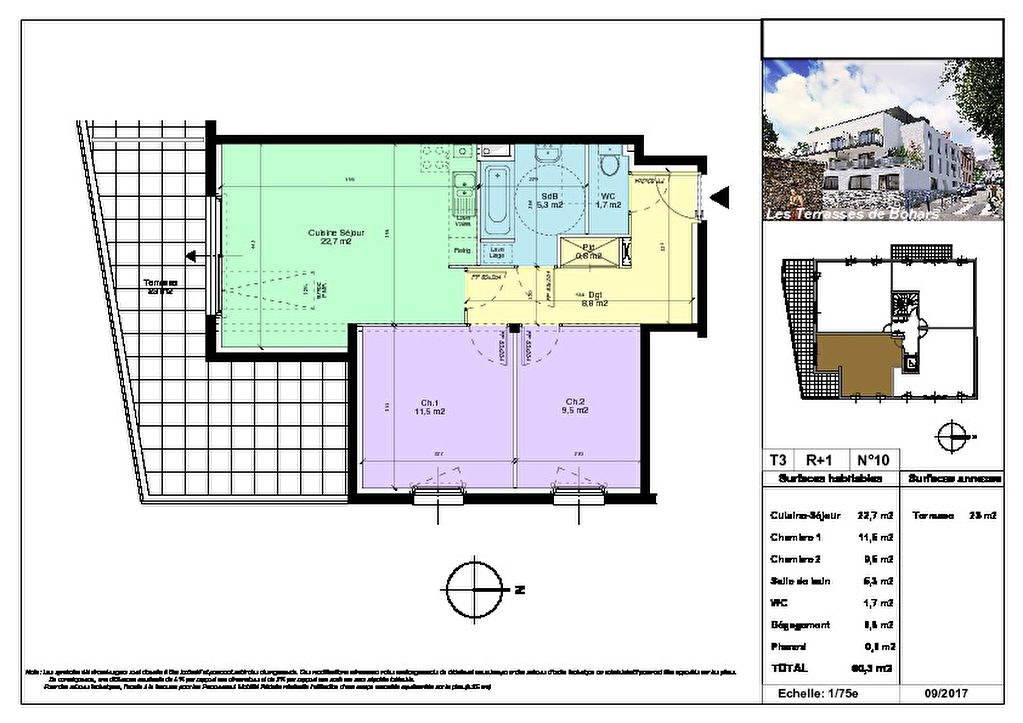 appartement t3 neuf de 60 3 m2 bohars centre terrasse parking 186 000 brest appartement. Black Bedroom Furniture Sets. Home Design Ideas